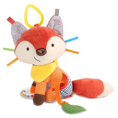 This is an image of a fox activity and teething toy for babies.