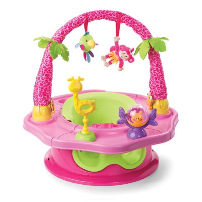 This is an image of an island pink activity seat for 5 months old babies.