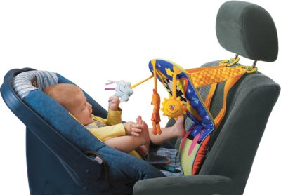 This is an image of a car seat with activity center for 5 months old baby.
