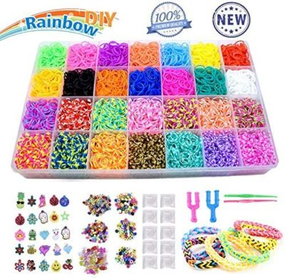 This is an image of a rainbow colored rubbed bands bracelet making set for 8 year old girls.