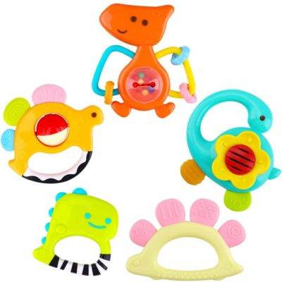 This is an image of a 5 colorful dinosaur rattle toys for 5 months old infant.