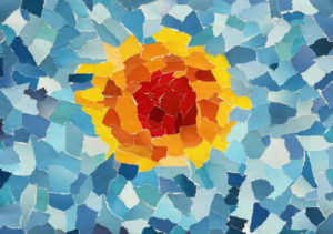 this is an image of a colorful paper mosaic