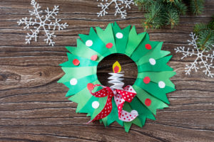 this is an image of a Christmas paper wreath